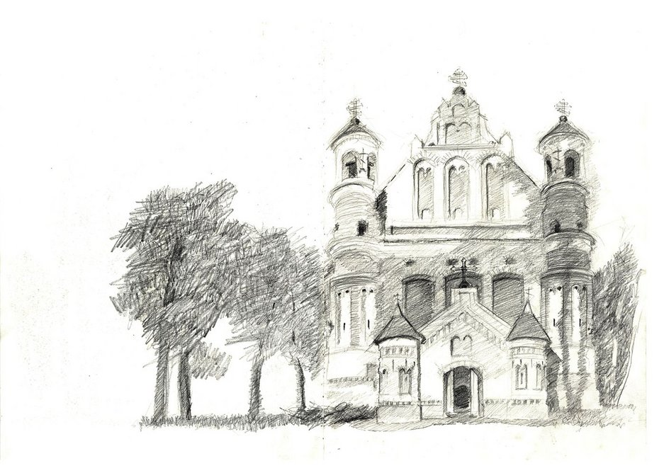 The 16th century brick Gothic fortified church in the village of Muravanka in the Hrodna region, Belarus. Sketch from life, 2012.
