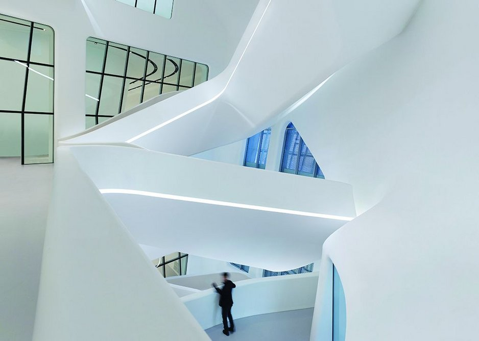 Central staircase within the design museum of DDP.