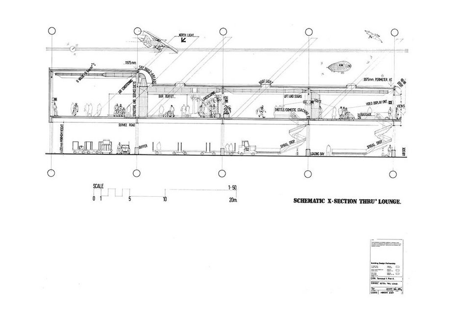 Kit Evans section through the Heathrow shuttle terminal. Note the various aniquated flying machines he added.