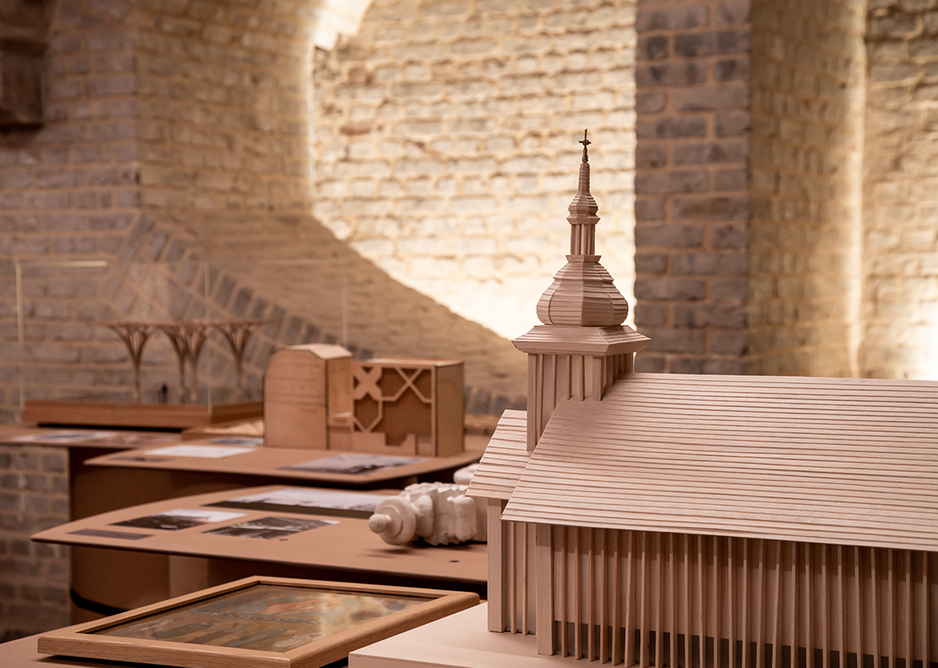 Installation view of Congregation. To the right is the Belarusian Memorial Chapel, Designed by Spheron Architects in North Finchley.
