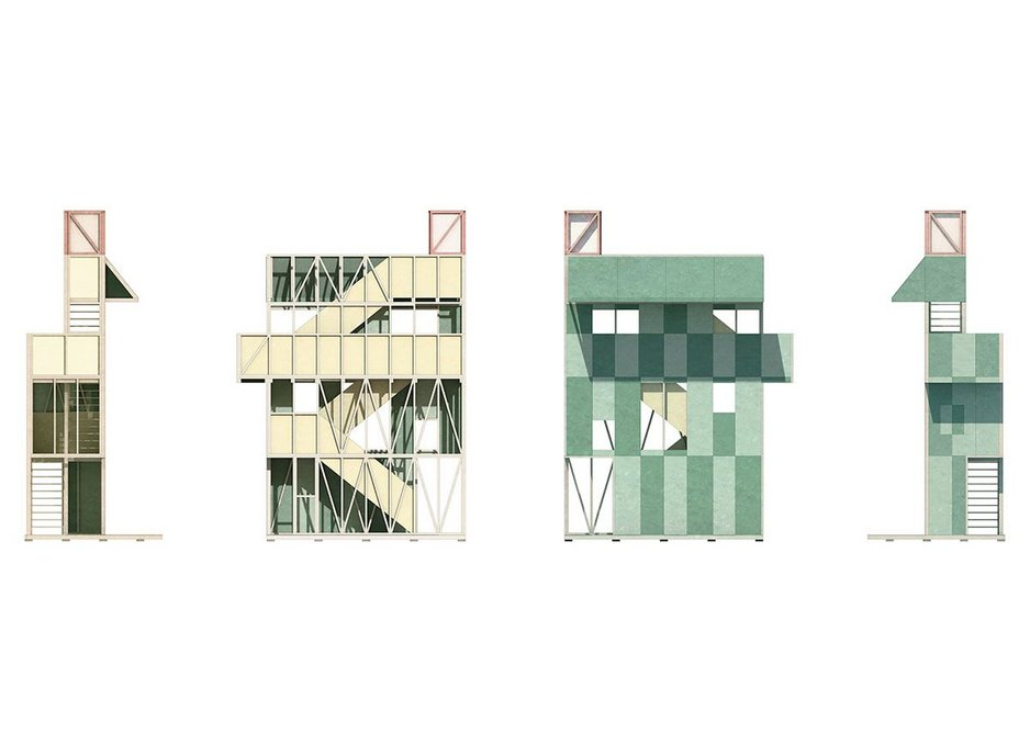Elevations of the Potemkin Theatre, winner of the Antepavilion competition 2019, by Maich Swift Architects.