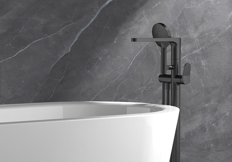 RAK-Petit Round freestanding bath shower mixer in matt black.