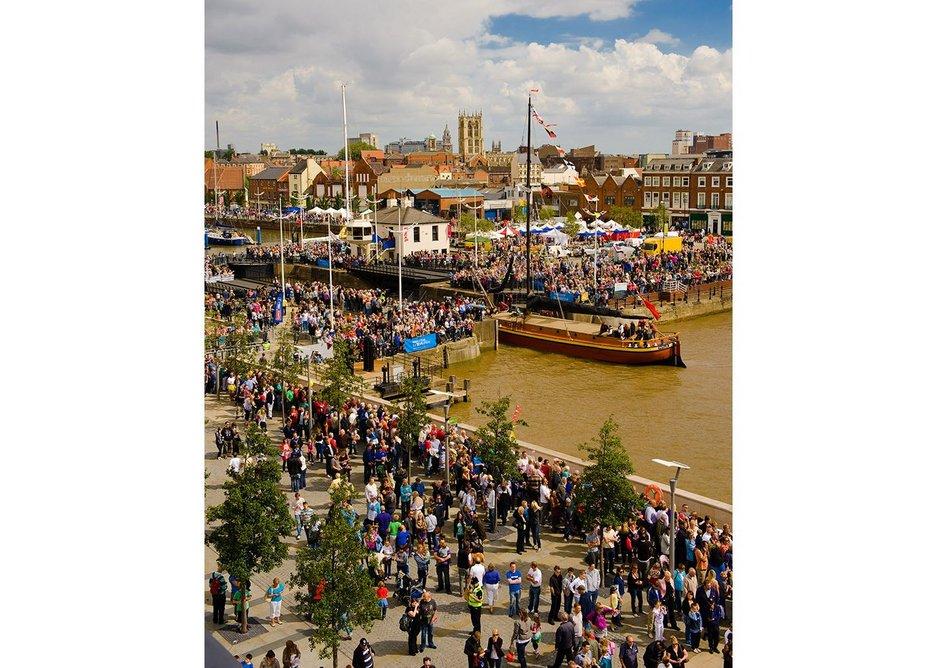 Hull port in celebratory mode.