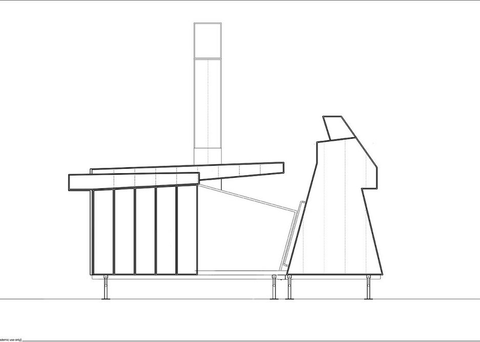 Elevation of The Mansio. The Vessel component on the right is an enclosed space for exploring the new works commissioned by the Hexham Festival.