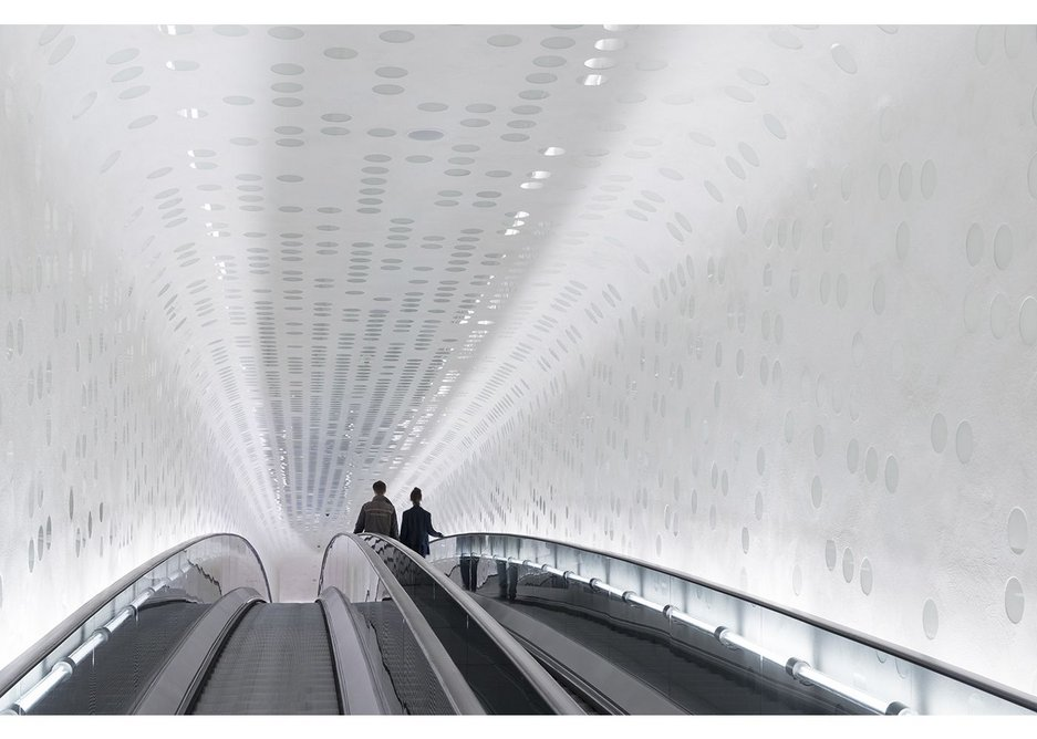 The 80m long escalator provides a three minute caesura from the world below as it takes concert-goers up the 37m to Elbphilharmonie's public plaza level.