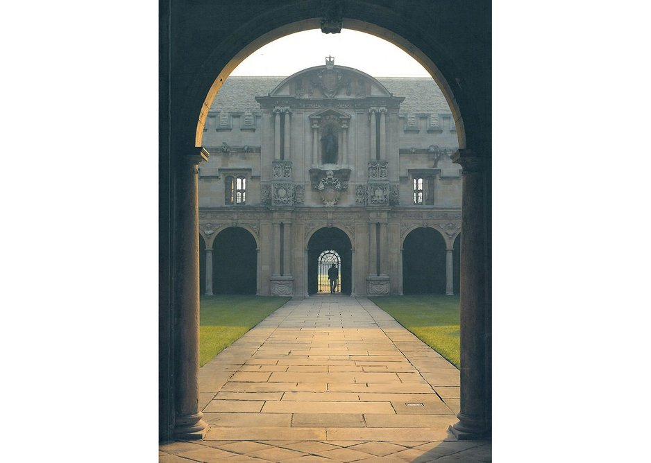 The axial view through Canterbury Quad: the Laudian Library range. New entrance to library on left at end.