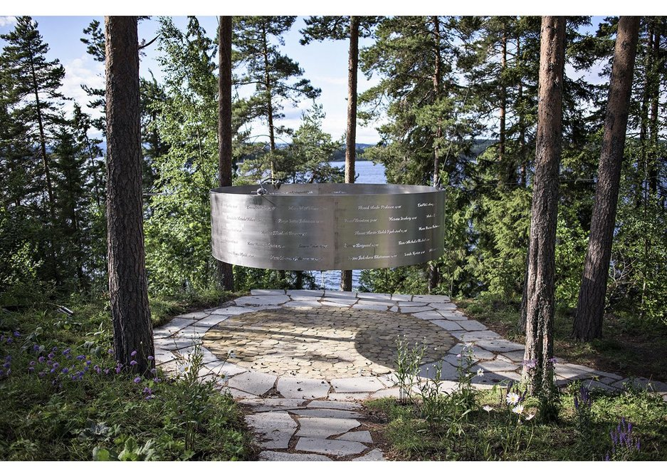 3RW's The Clearing in Utøya, Norway remembers the victims  of the 2011 massacre with 12m diameter circle with names inscribed on it.