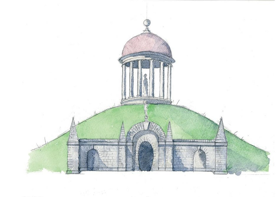 The Temple of Venus, built by Sir Francis Dashwood, co-founder of the Society of Dilettanti, at West Wycombe, Buckinghamshire. Sketch by Rory Fraser.