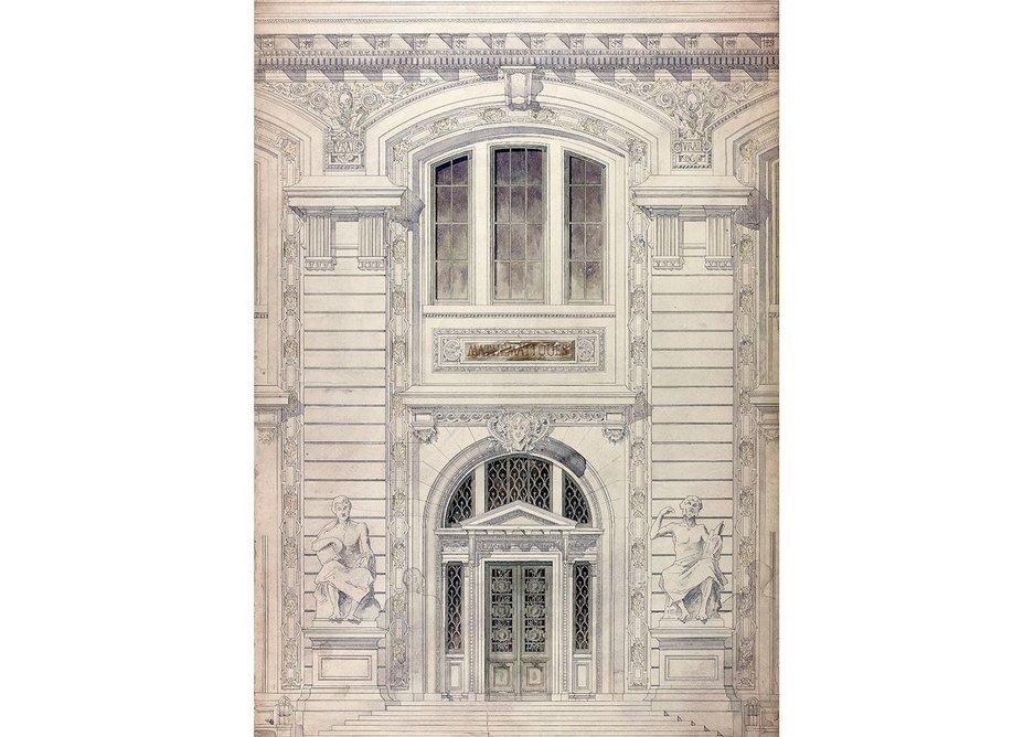 Design for Palais de Sciences – elevation detail, 1890-6.