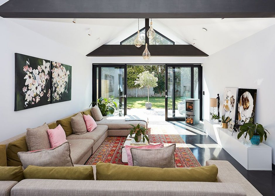 The Healthy House uses natural materials and second hand furniture, including the sofa, to minimise the VOCs emitted.
