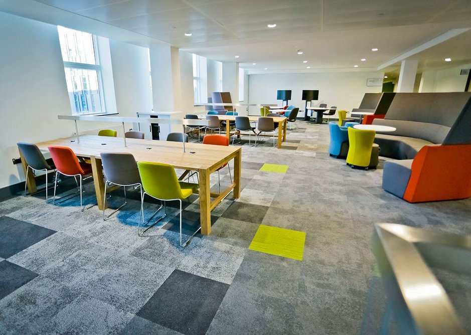 Interface Composure and Equilibrium flooring creates a conducive feel across Clerici's multi-use spaces.
