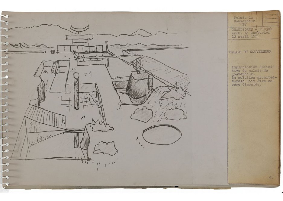 View/study of Governors Palace from Chandigarh: presentation book for the plan of the city, 1952, designed by Le Corbusier.