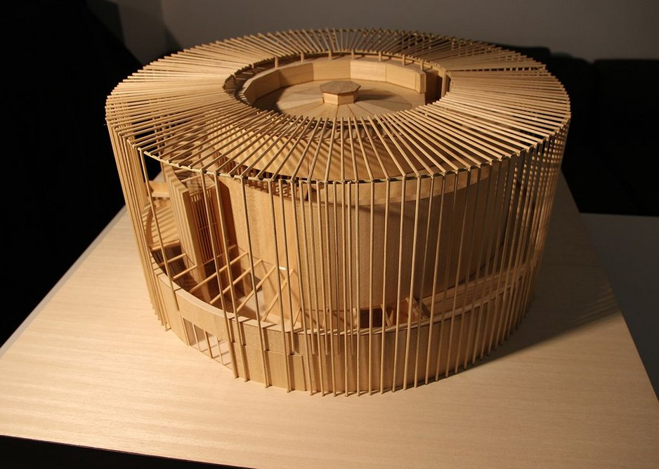 The delicate model of the theatre showing the external forest of bamboo.