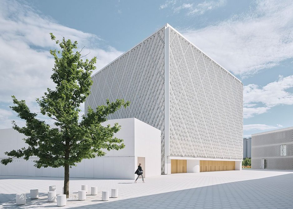 The white concrete facades were selected to contrast with the surroundings as well as for their symbolism within Islamic architecture.
