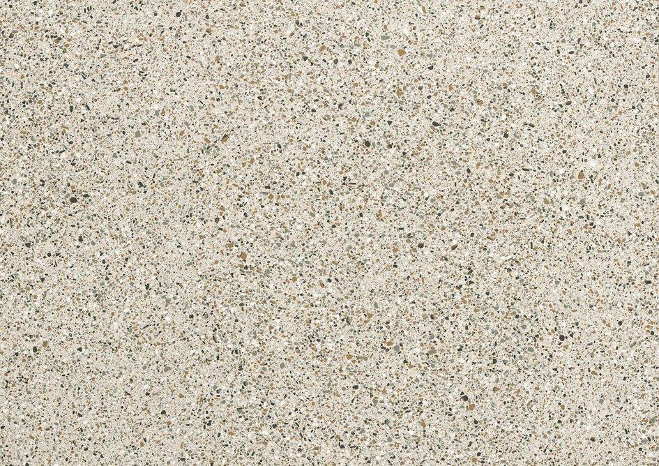 Il Veneziano porcelain surface in cool Seminato Argento.