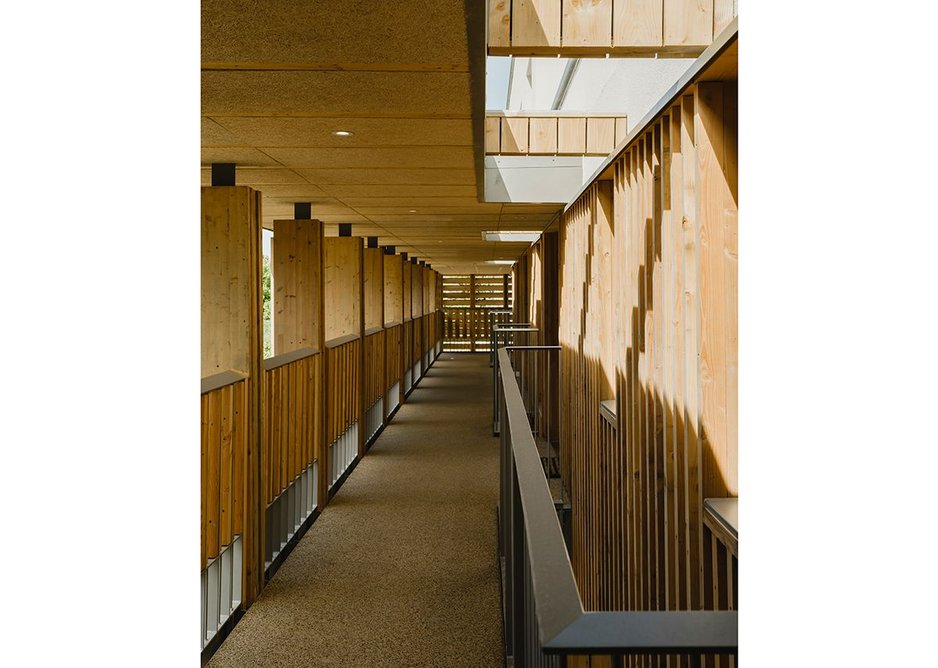 Covered walkways are less gloomy than might be expected thanks to the open rooflights.