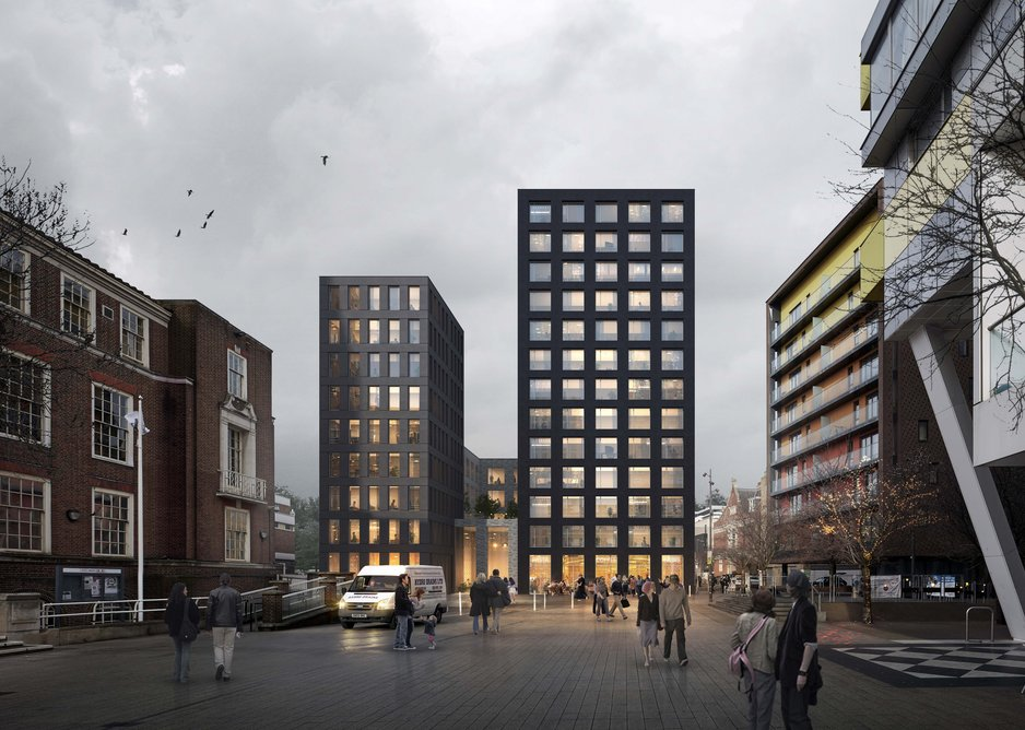 Mixed-use scheme in Barking, East Street Square elevation adjacent to existing town all providing new active frontage at ground floor and c.80 residential units above.