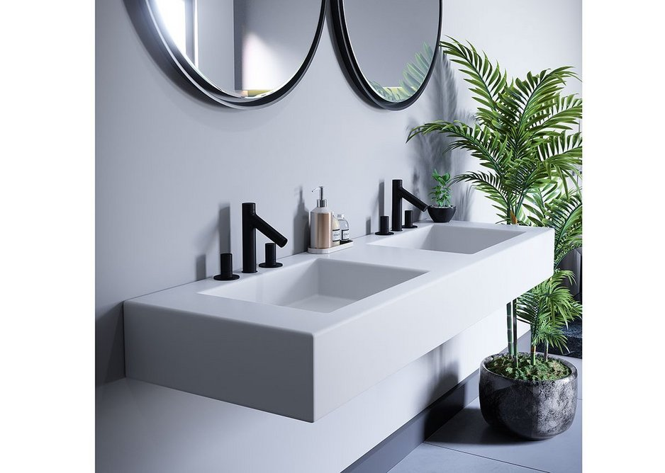 Bespoke bathroom vanity units in Durasein Pure White solid surface: A smooth, seamless and hygienic finish.