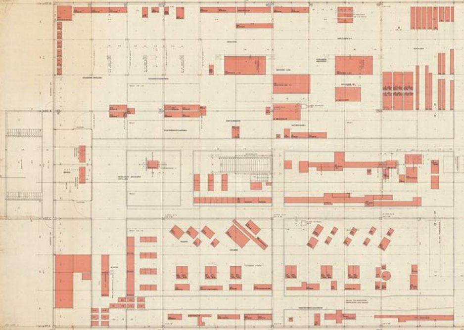 Bruno and Fritz Haller, Grundriss: Floor plan: layout plan for production machines, Rebuilding of the plant U. Schärer's Söhne Münsingen, Münsingen, Switzerland, 1961 © gta Archives, ETH Zurich: 189-0124.1