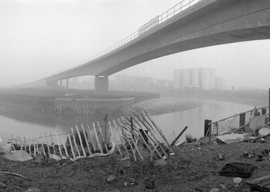 The DLR viaduct over Bow Creek in the Lea Valley, 1992, photographed by Peter Marshall, Limmo Peninsula Ecological Park © Museum of London