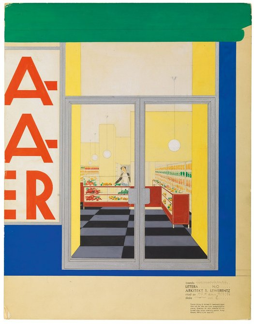 Perspective (grocery store), watercolour, gouache and pencil on cardboard, 1932, 47 × 36 cm, ARKM.1973-05-02504.