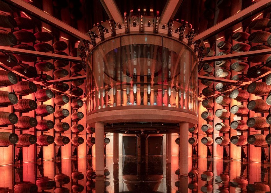 The 153-cask cellar seems an infinitely vertical space, but visitors are unable to smell the whisky.