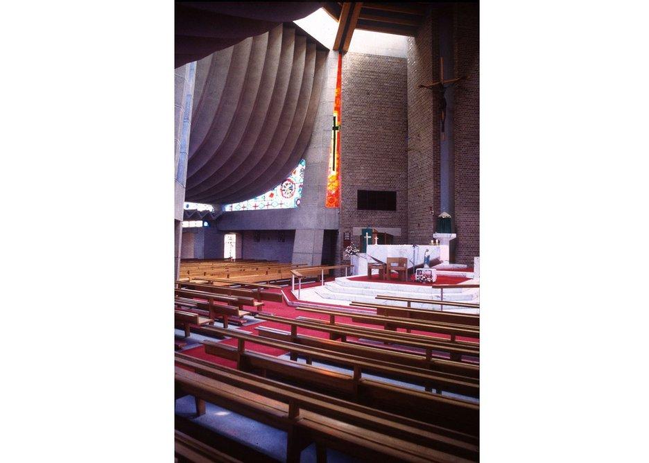 Interior of Birmingham Tile Cross church.