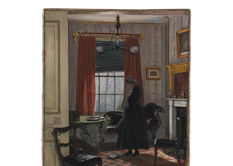 ''The First Place', oil on canvas by A. Erwood 1860. Domestic scenes are a useful source of research. Courtesy of the Museum of the Home