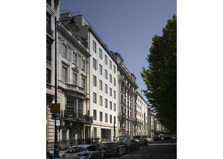 No fripperies here: 76 Portland Place's plain face onto its grand West End avenue.