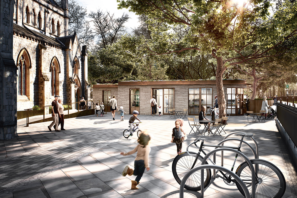 The new forecourt besides the multi-purpose extension at Christ Church, Highbury.