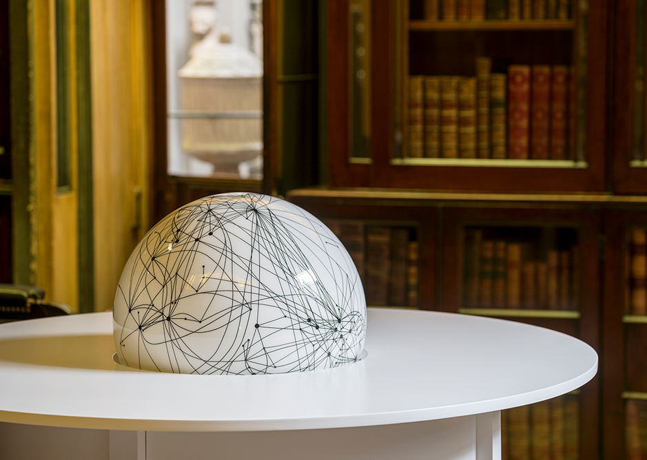 Installation view in the Breakfast Room of Langlands & Bell - Degrees of Truth at Sir John Soane's Museum showing Globe Table, 2020 (detail). Artists' collection.
