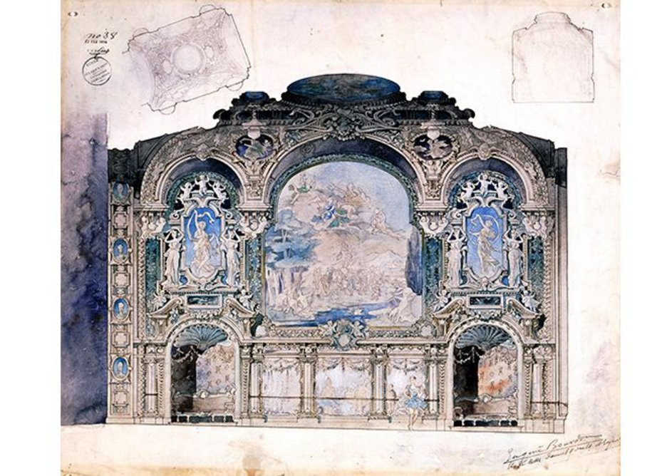 Design for a ballroom in a large theatre, 1894.