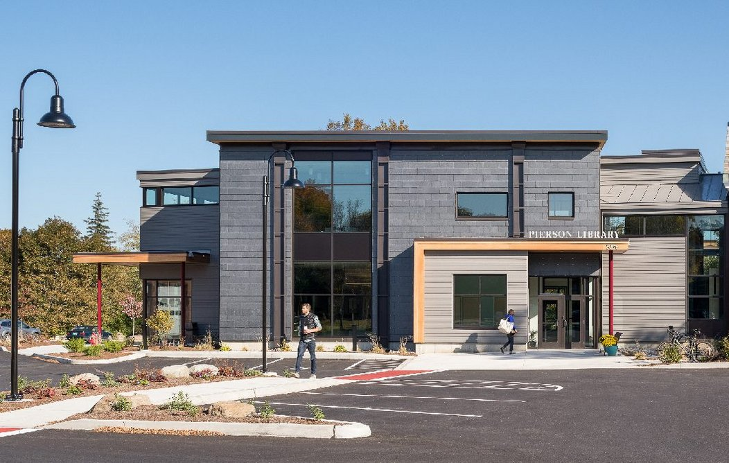Cupaclad 201 Vanguard natural slate cladding at Pierson Library, Shelburne, Vermont, USA.