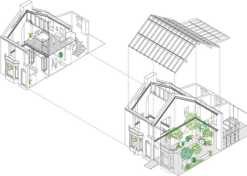 The Winter Garden forms only half of the project. Above, the artist in residence space will fund itself as an airbnb for half the year.