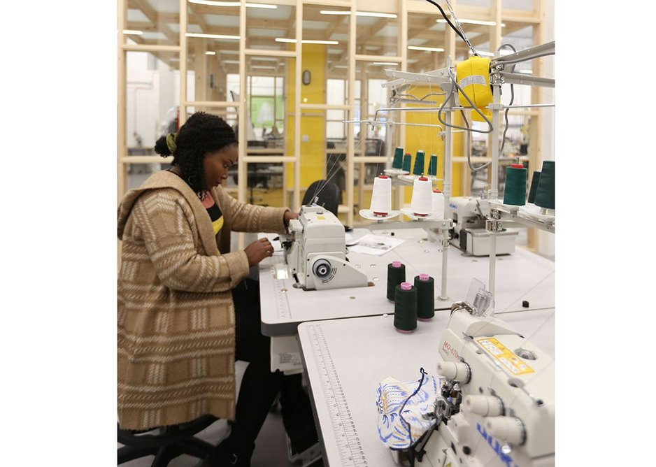 A student in the teaching space at The Tailoring Academy, Tottenham. The facility will provide 100 apprenticeships over three years.