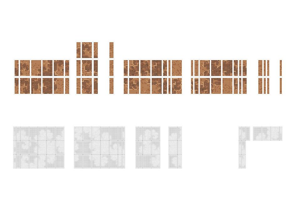 The full L-System design wrapping around the facade expressed in both precast concrete and terracotta-faced panels.