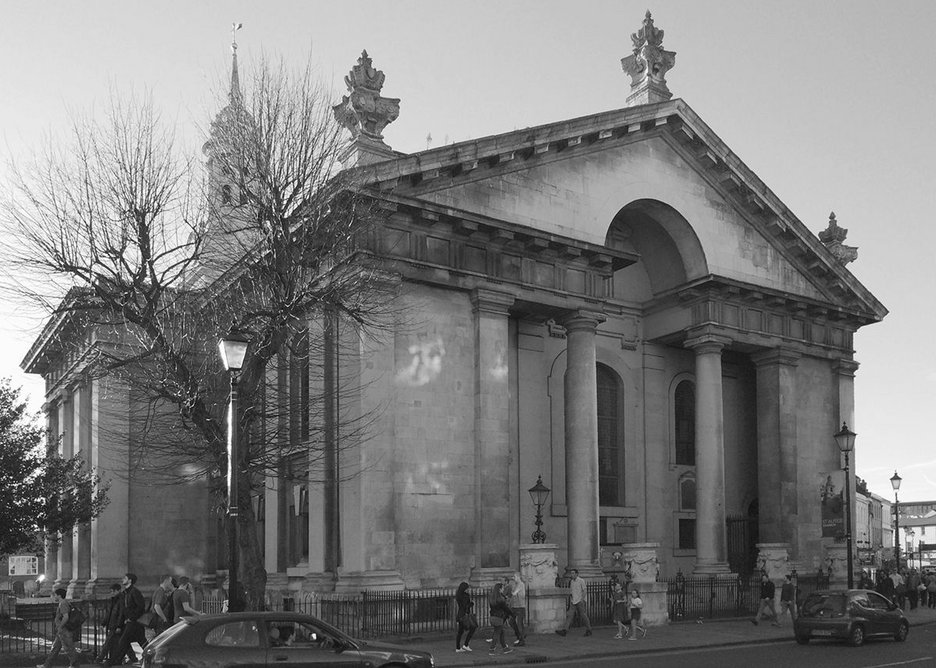 The east front of St Alfege, Greenwich, with Roman funereal altars.