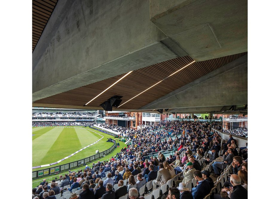 The concrete soffit of the lower tier of Lord's new Warner Stand is faced with strips of timber to avoid noise build up.