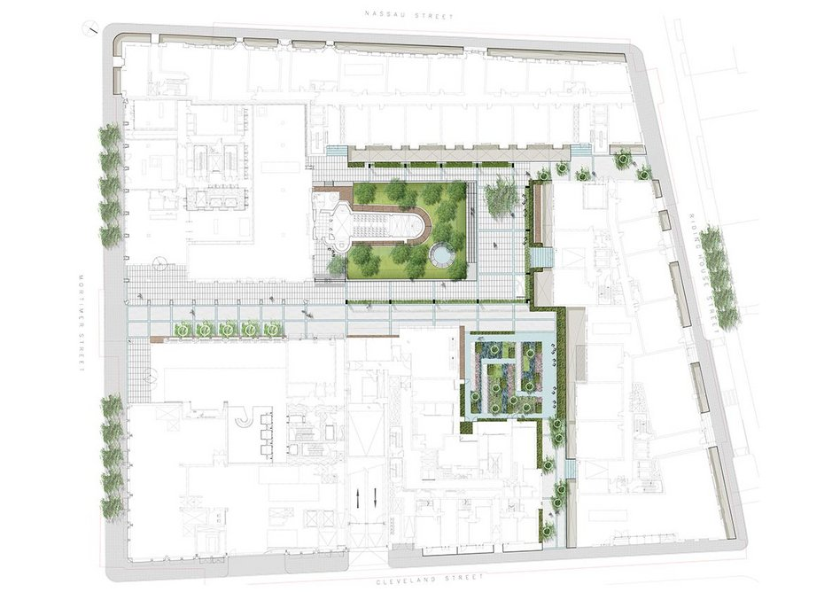 The landscape plan by GrossMax: public spaces become sociable street (south), formal setting for the chapel (centre) and quiet, sunny, sensory garden square.