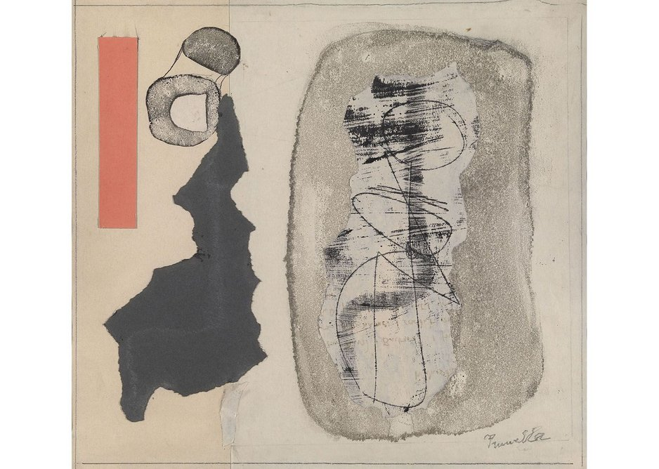 Eileen Gray and Prunella Clough, Untitled (Red Form), c.1960. Gouache and collage on paper, 26.3 × 28.5 cm.