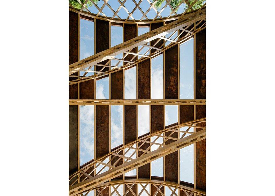 Upview - Belfast trusses unusually configured.