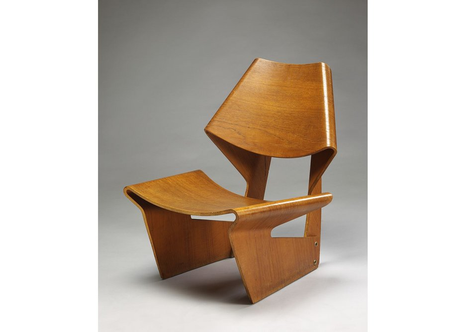 Moulded plywood chair designed by Grete Jalk, 1963.