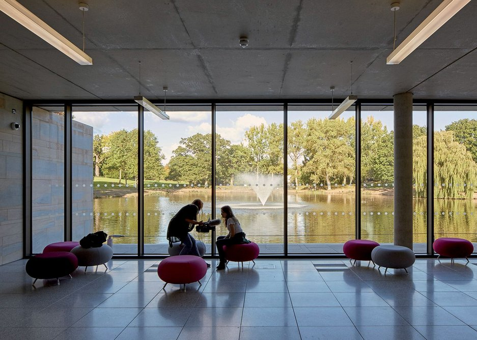 View from the Student Centre reception over the lake.