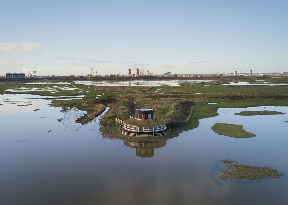 Aerial view of Saltholme Pools bird hide, which provides panoramic views of the wetlands. Construction was limited to a narrow window to avoid bird breeding seasons.