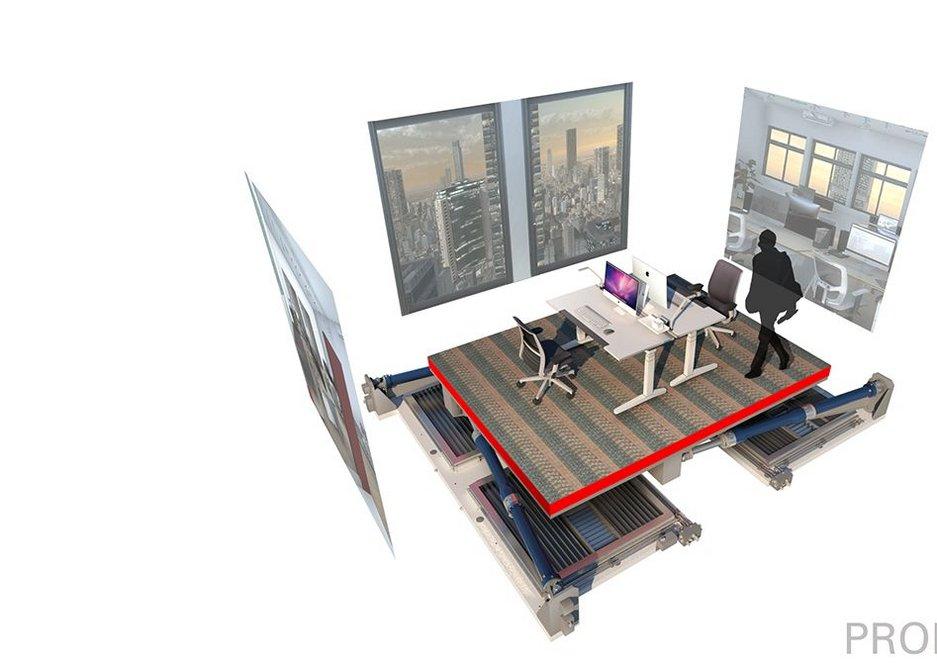 VSimulators office setup: Hydraulic pistons allow the VSimulator to sway up to 40cm horizontally.