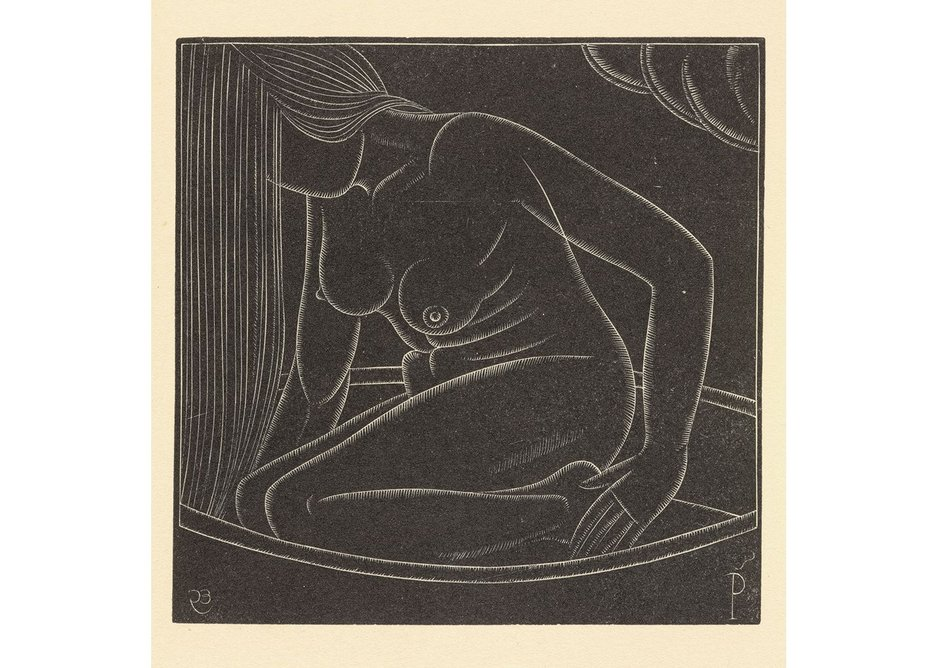 Eric Gill, Girl in Bath II, 1923. Wood engraving, ink on paper. Another study of Petra bathing, tellingly her eyes are averted, unable to meet the viewers' (or artist's) gaze.