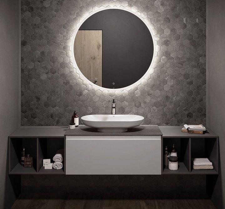 RAK-Des countertop washbasin and RAK-Joy Uno furniture.