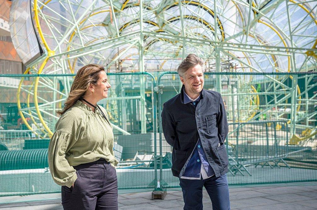 Design District director Helen Arvanitakis and Knight Dragon head of design Matt Dearlove on site at the Design District at North Greenwich.