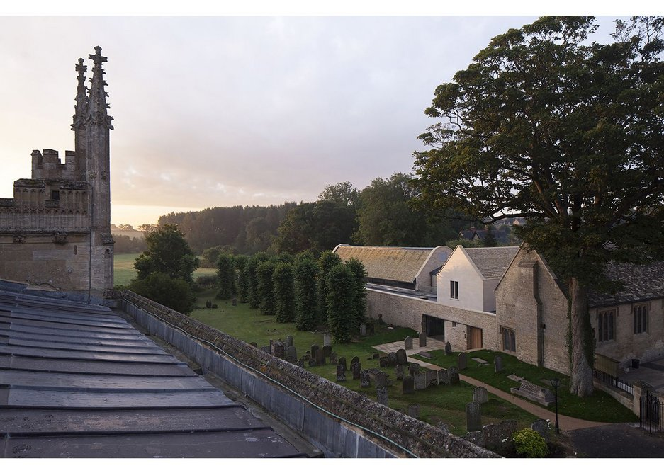 View from St John the Baptist's church roof shows how the community centre sits on the edge of Burford.