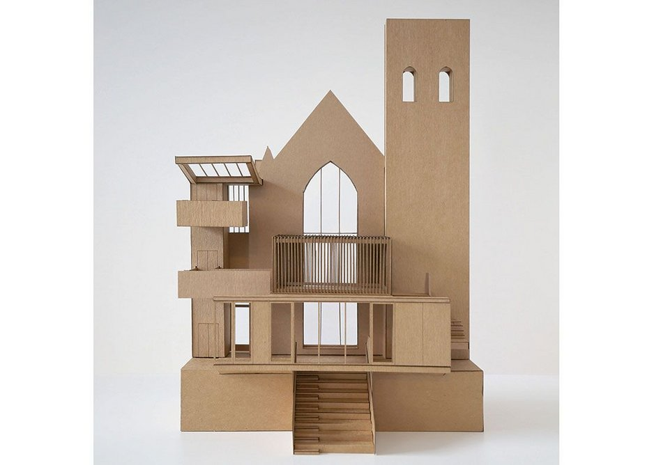 Timber model of Greyfriars Charteris' interior showing the first floor dedicated prayer space.